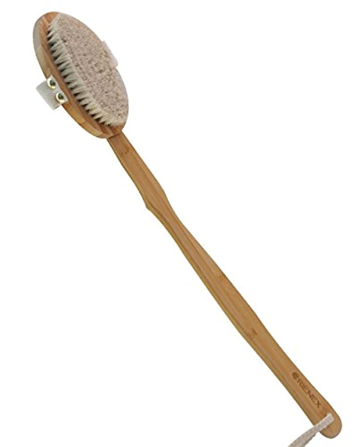 万歳カートリッジ拷問Orienex ボディブラシ ロングタイプ 馬毛 マッサージブラシ ハンドブラシ 取り外し可能 天然素材