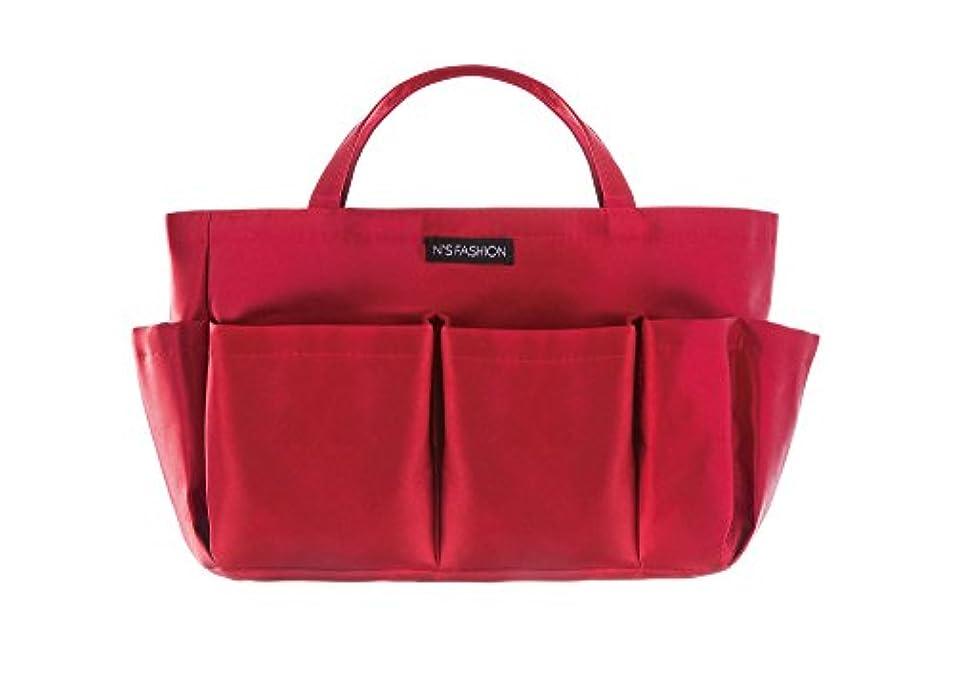 ミュージカル女性余計なコスメも入るバッグインバッグ ボルドー