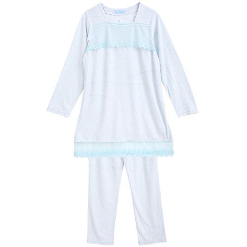 (キッドブルー)KID BLUE チュールレーシーベロア 長袖パジャマ 上下セット(SX-サックス、R)