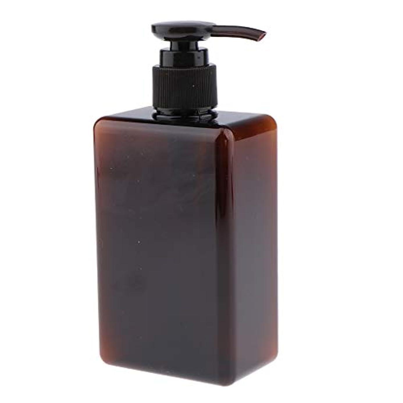 胸洞察力のある証言280ml ポンプボトル 空ボトル 詰め替え容器 プラスチックボトル シャンプー 漏れ防止 全4色 - 褐色