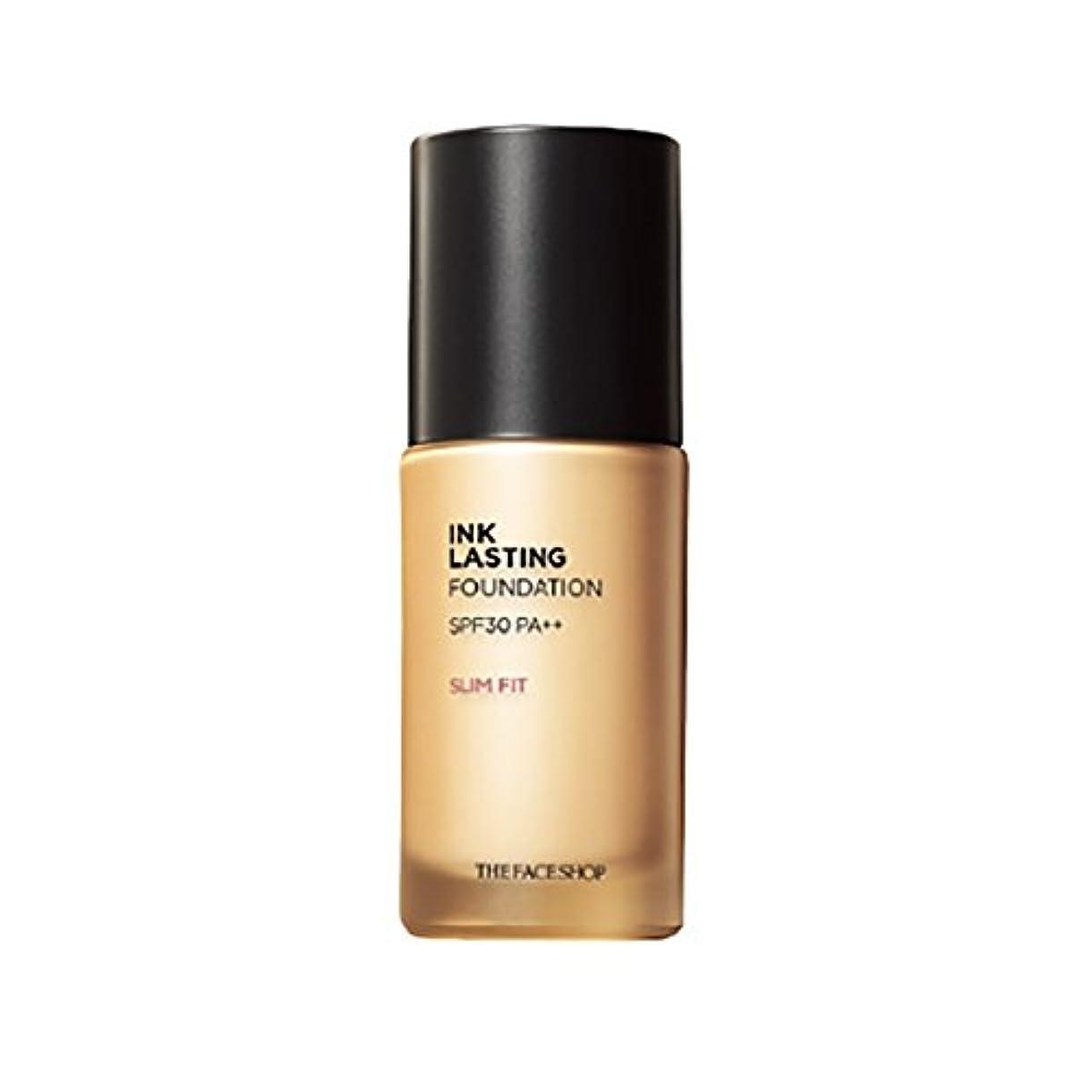親愛な調整可能アイザックThe Face Shop ザフェイスショップ Ink Lasting Foundation Slim Fit ファンデーション 30ml #N201 Apricot Beige[並行輸入品]