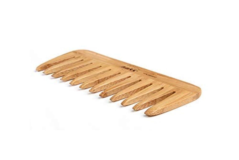 語シンボル責Bass Brushes | Grooming Comb | Premium Bamboo Teeth and Handle | Wide Tooth Style | Dark Finish | Model W2 - DB...