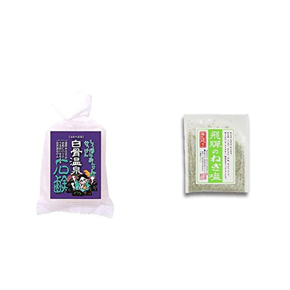 見落とす基本的な手荷物[2点セット] 信州 白骨温泉石鹸(80g)?手造り 飛騨のねぎ塩(40g)