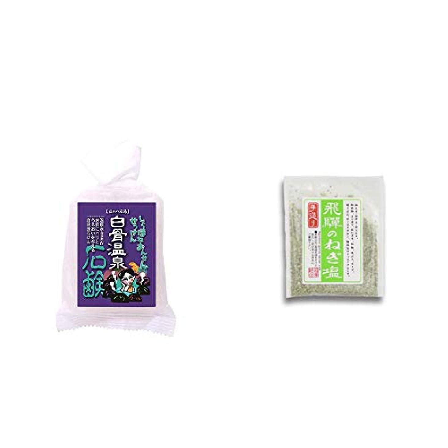 スクレーパー戦闘[2点セット] 信州 白骨温泉石鹸(80g)?手造り 飛騨のねぎ塩(40g)