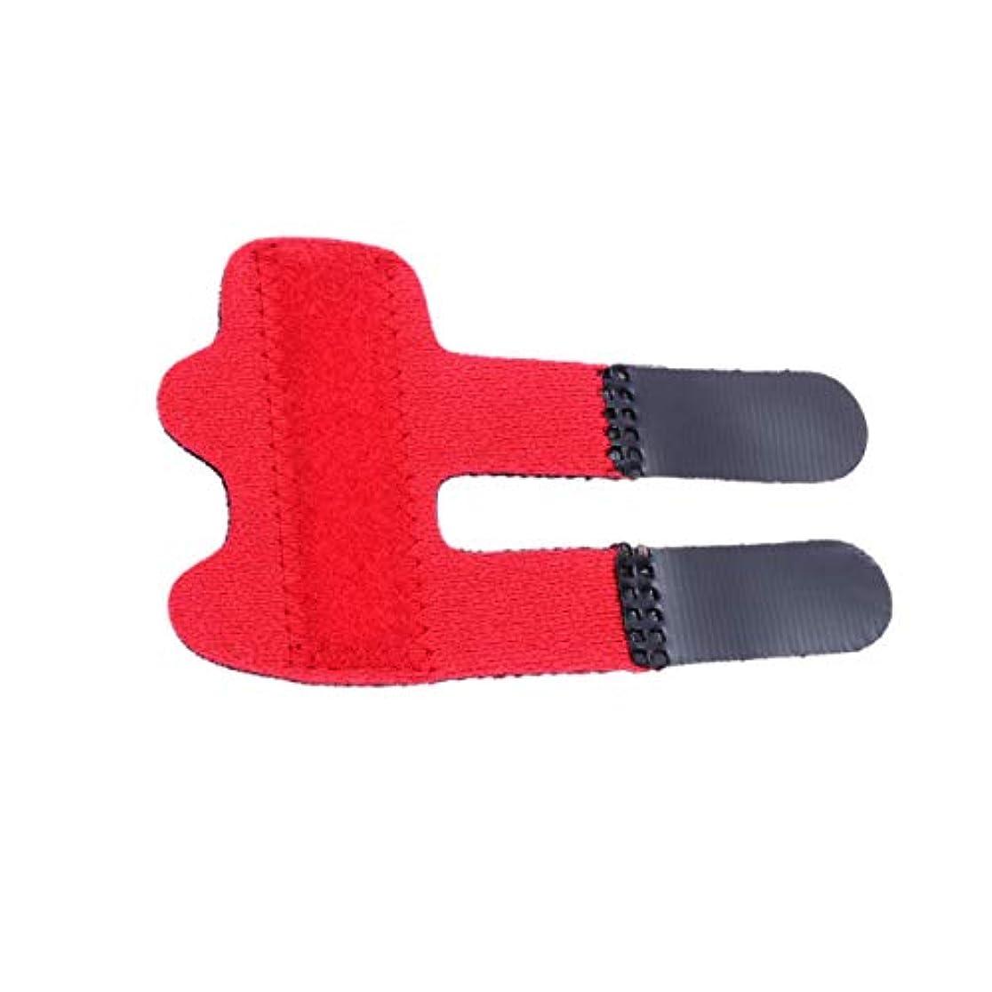 持続的私たちの羊のHealifty 指の添え木が指の袖を支える親指の添え木ブレースが壊れた指の腱の痛みを和らげます1pc(赤)