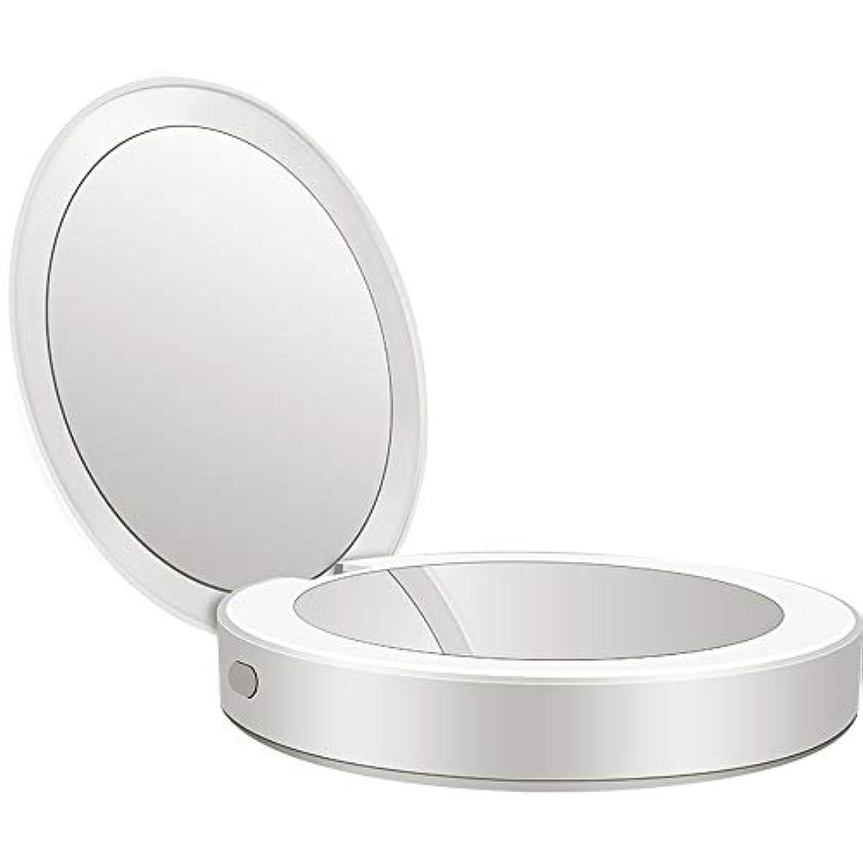 展望台権限を与える気味の悪い流行の 新しい多機能ポータブル折りたたみLEDライト化粧鏡フィルライト充電宝物鏡ABS素材ギフトギフトライト充電虫眼鏡 (色 : Silver)