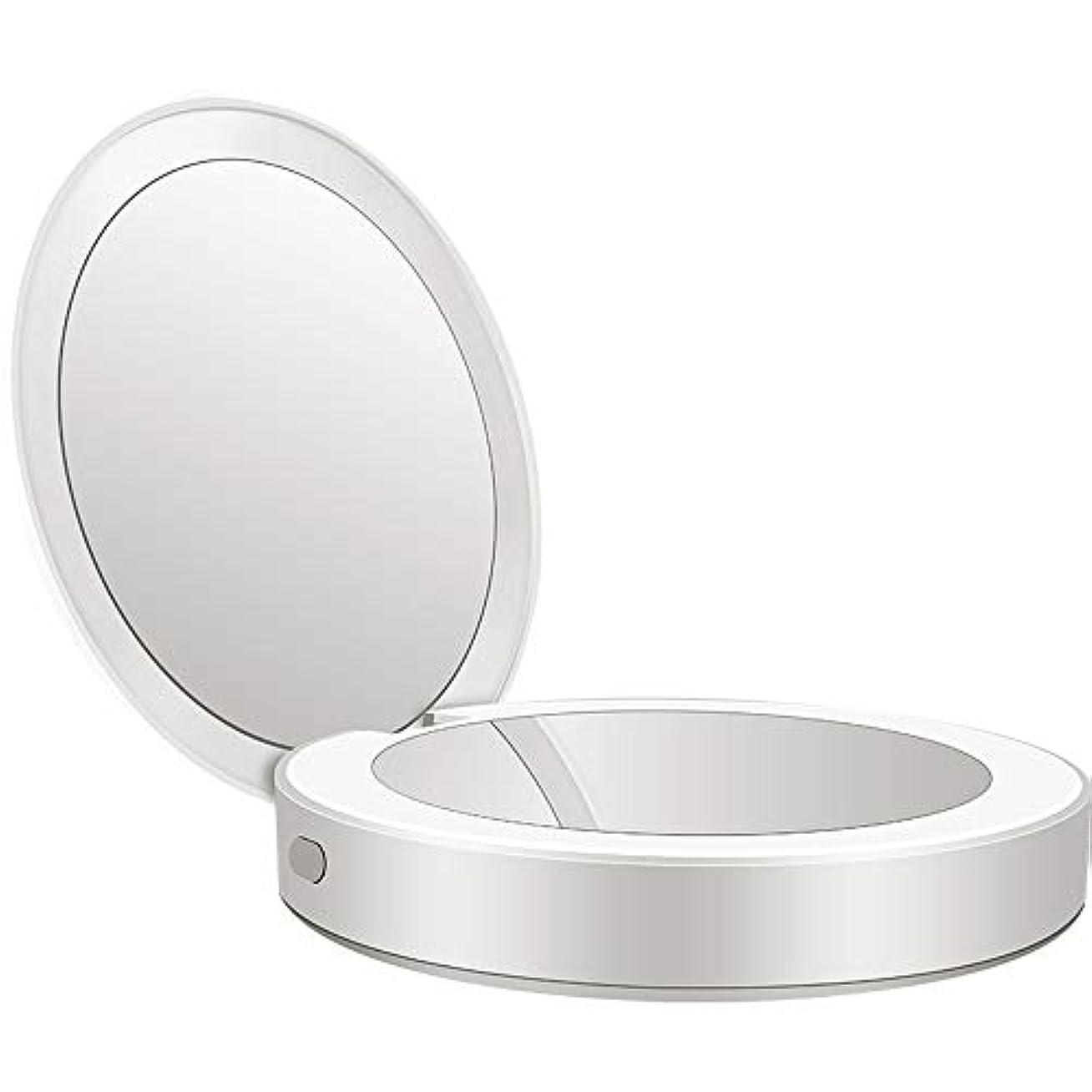 悪性しょっぱいケージ流行の 新しい多機能ポータブル折りたたみLEDライト化粧鏡フィルライト充電宝物鏡ABS素材ギフトギフトライト充電虫眼鏡 (色 : Silver)