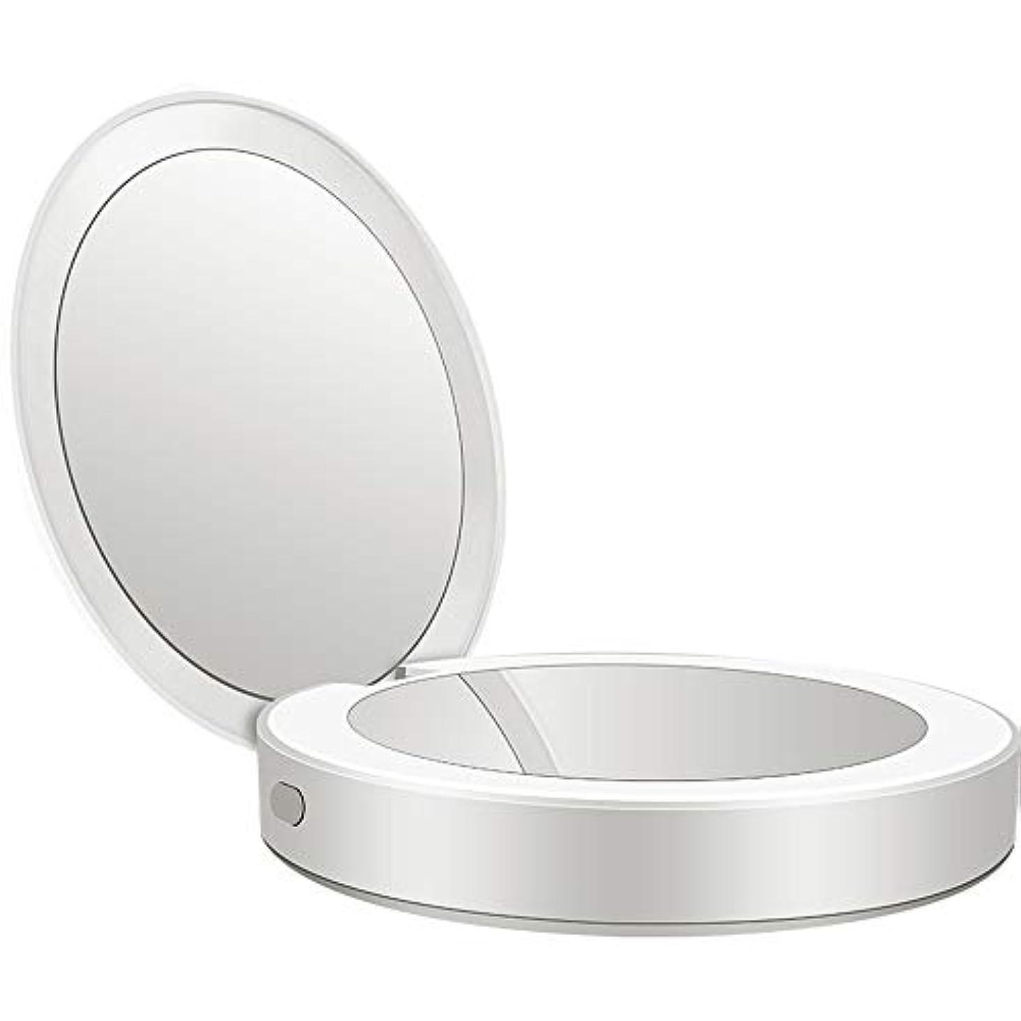 に同意する美徳報復流行の 新しい多機能ポータブル折りたたみLEDライト化粧鏡フィルライト充電宝物鏡ABS素材ギフトギフトライト充電虫眼鏡 (色 : Silver)