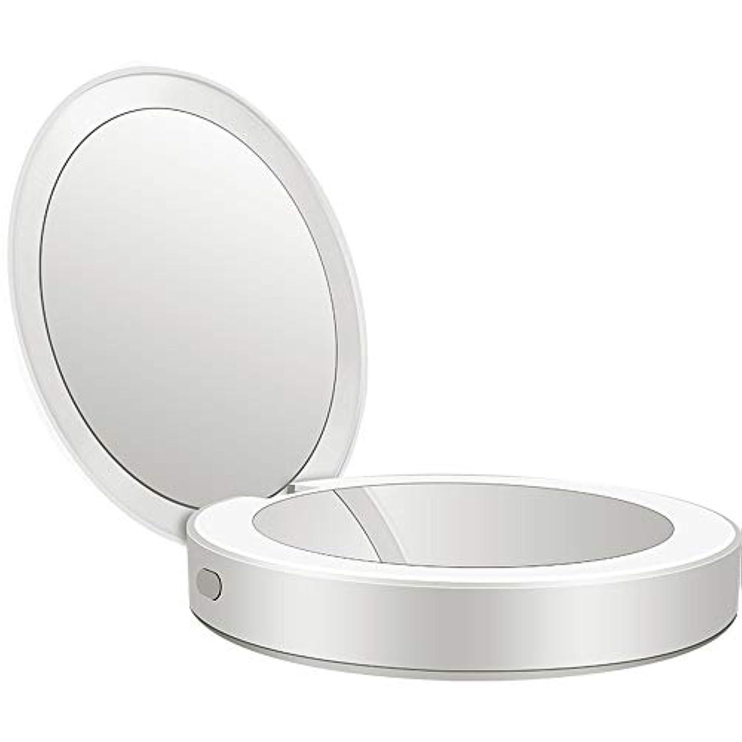 熟練したブランク事実流行の 新しい多機能ポータブル折りたたみLEDライト化粧鏡フィルライト充電宝物鏡ABS素材ギフトギフトライト充電虫眼鏡 (色 : Silver)