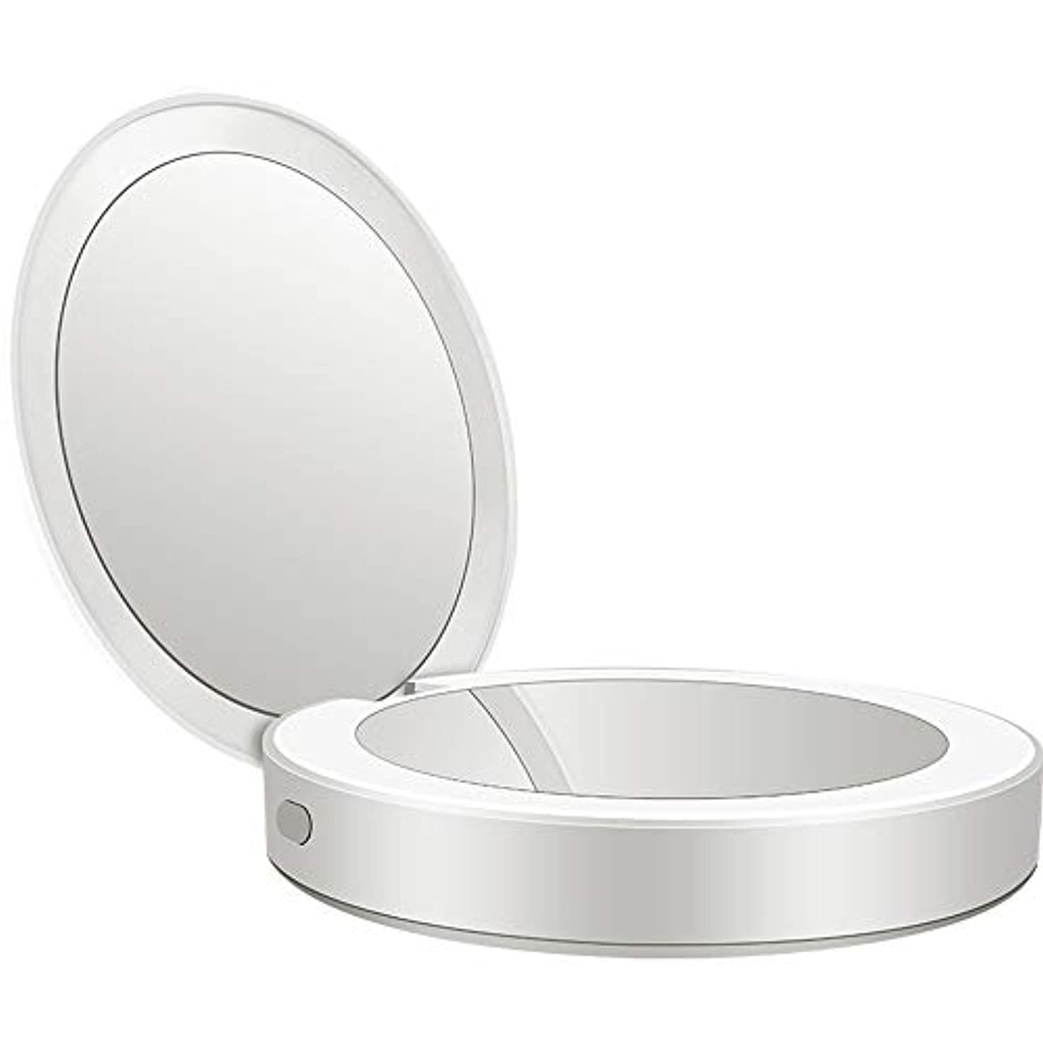 太字ピジンひらめき流行の 新しい多機能ポータブル折りたたみLEDライト化粧鏡フィルライト充電宝物鏡ABS素材ギフトギフトライト充電虫眼鏡 (色 : Silver)