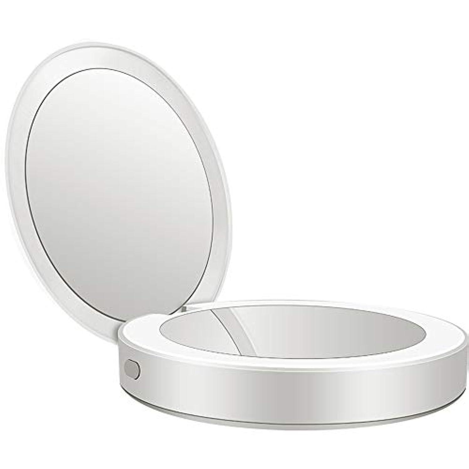 流暢ランタン受益者流行の 新しい多機能ポータブル折りたたみLEDライト化粧鏡フィルライト充電宝物鏡ABS素材ギフトギフトライト充電虫眼鏡 (色 : Silver)