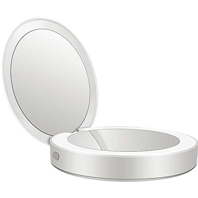 要旨十分粘着性流行の 新しい多機能ポータブル折りたたみLEDライト化粧鏡フィルライト充電宝物鏡ABS素材ギフトギフトライト充電虫眼鏡 (色 : Silver)