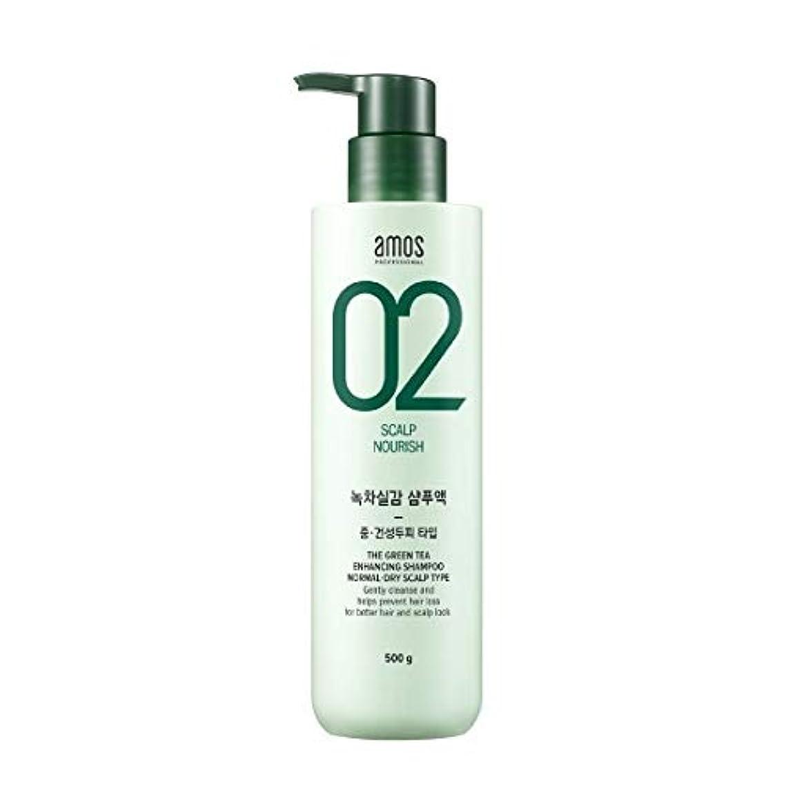 研究所皮壮大なAmos Green Tea Enhancing Shampoo - Normal, Dry 500g / アモス ザ グリーンティー エンハンシング シャンプー # ノーマルドライ スカルプタイプ [並行輸入品]
