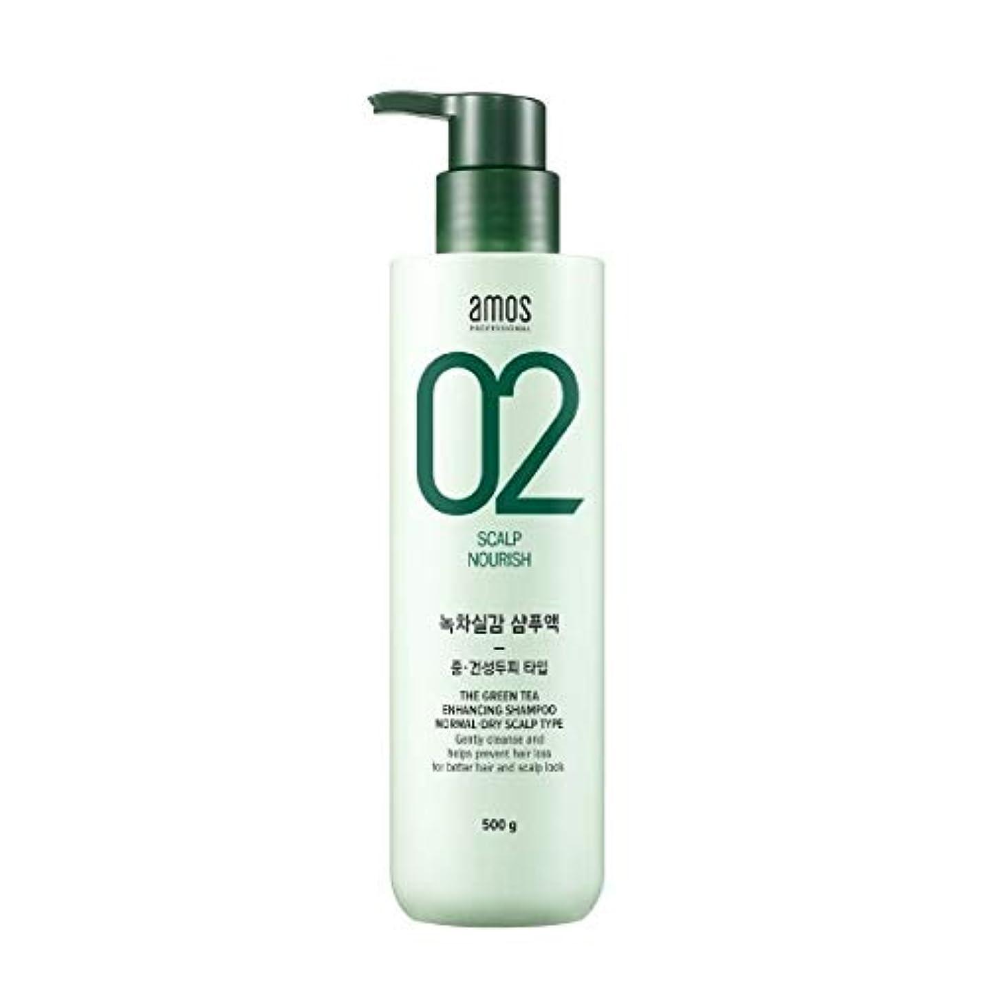 噂国籍ヘアAmos Green Tea Enhancing Shampoo - Normal, Dry 500g / アモス ザ グリーンティー エンハンシング シャンプー # ノーマルドライ スカルプタイプ [並行輸入品]