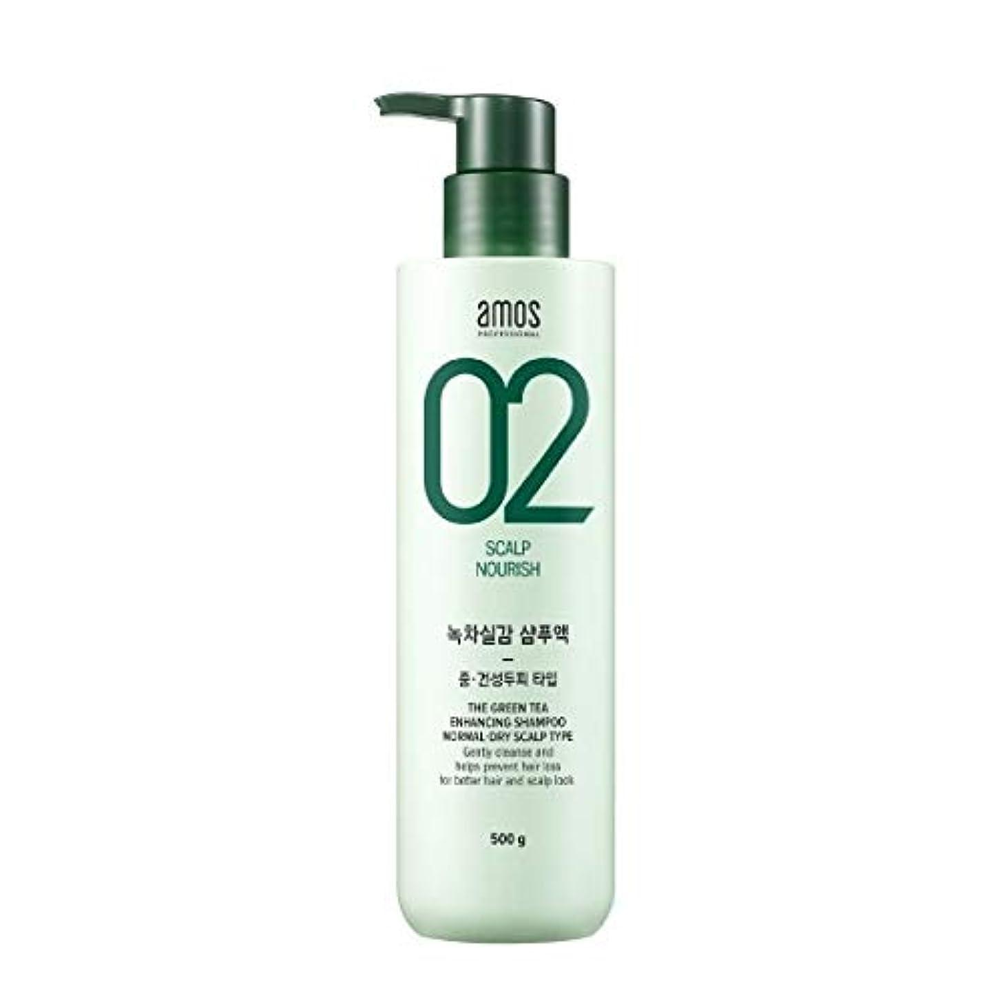 プーノペグ意義Amos Green Tea Enhancing Shampoo - Normal, Dry 500g / アモス ザ グリーンティー エンハンシング シャンプー # ノーマルドライ スカルプタイプ [並行輸入品]