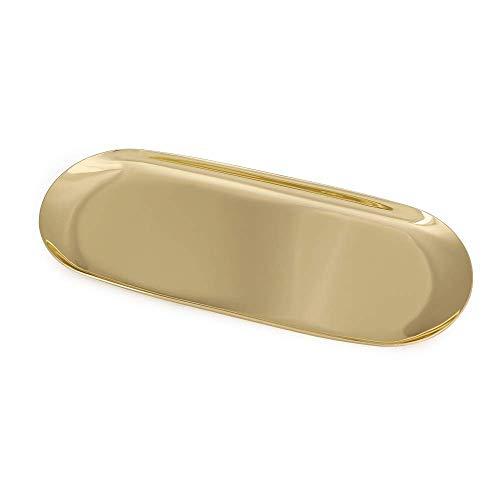 ステンレストレー トレイ Leetaker 化粧トレー キャッシュトレイ コイントレイ 小判型 万能 小型 食物トレー ペントレー 楕円形 小物トレー 小物置き (ゴールド)