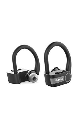 Tiumso Bluetoothイヤホン 完全ワイヤレス 高音質 耳掛け式 ランニングイヤホン スポーツ ヘッドセット 左右分離型 片耳 両耳とも対応 IPX7 防水防滴仕様 ブルートゥースイヤホン マイク内蔵 ハンズフリー通話 (ブラック)