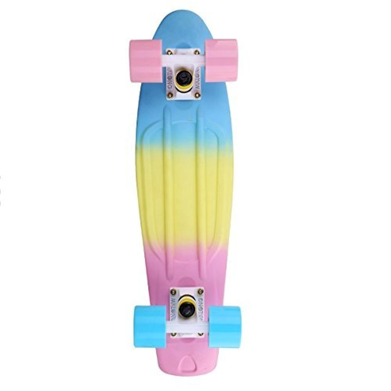MKL Fade Boards Plastic Skateboard Urban Retro Cruiser Complete (Pastel Blue Yellow Pink) [並行輸入品]