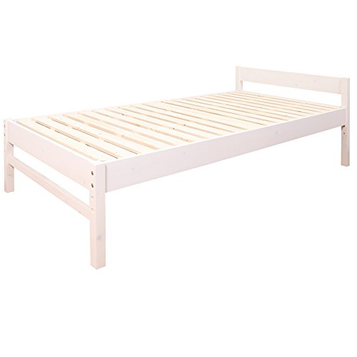 【JAJAN】 天然木 すのこベッド 【 アブサロム 】 シングル ベッド ホワイト [ 三段階 高さ調整 選べる 3カラー ][ 耐荷重 150kg ]