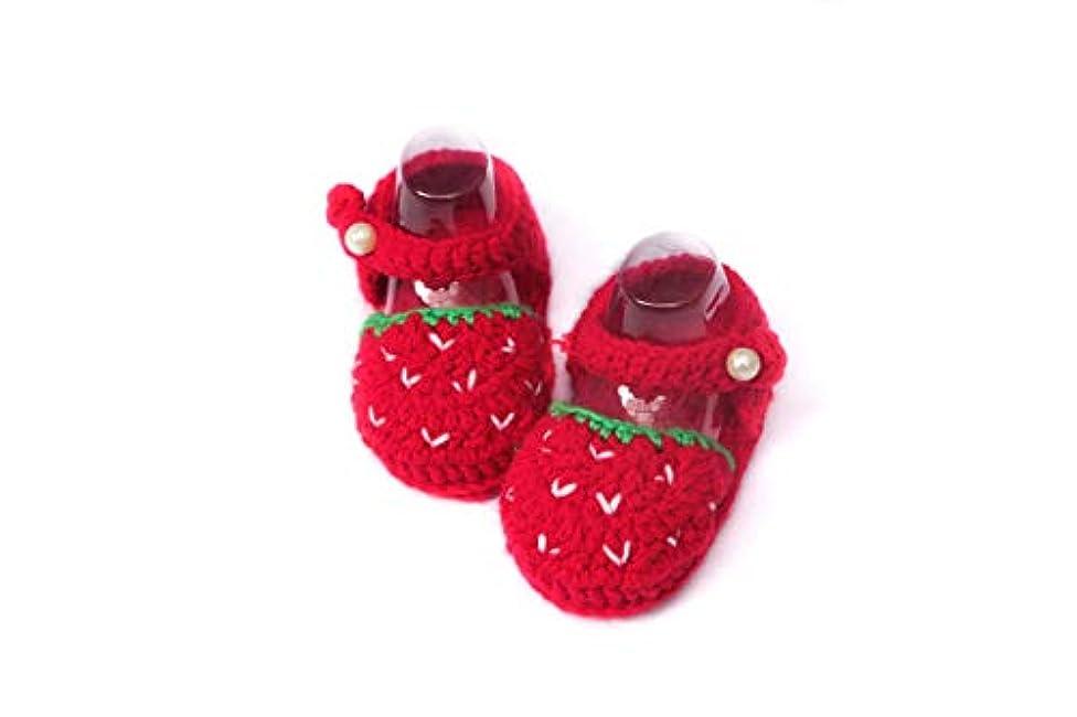 踊り子ジャンルファックス[Bunny Handmade] Crochet Baby Girl Shoes Strawberry Accessories Shoes Baby