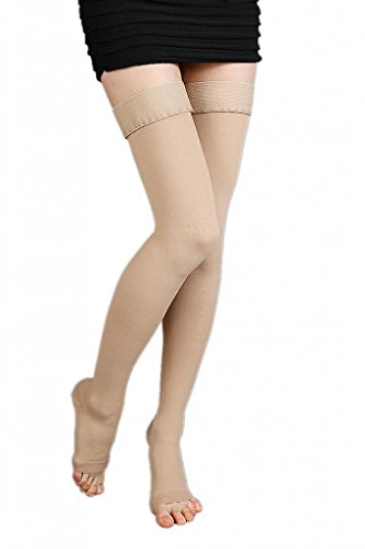 のれんふける複雑な(ラボーグ)La Vogue 美脚 着圧オーバーニーソックス ハイソックス 靴下 弾性ストッキング つま先なし着圧ソックス M 3級高圧 肌色