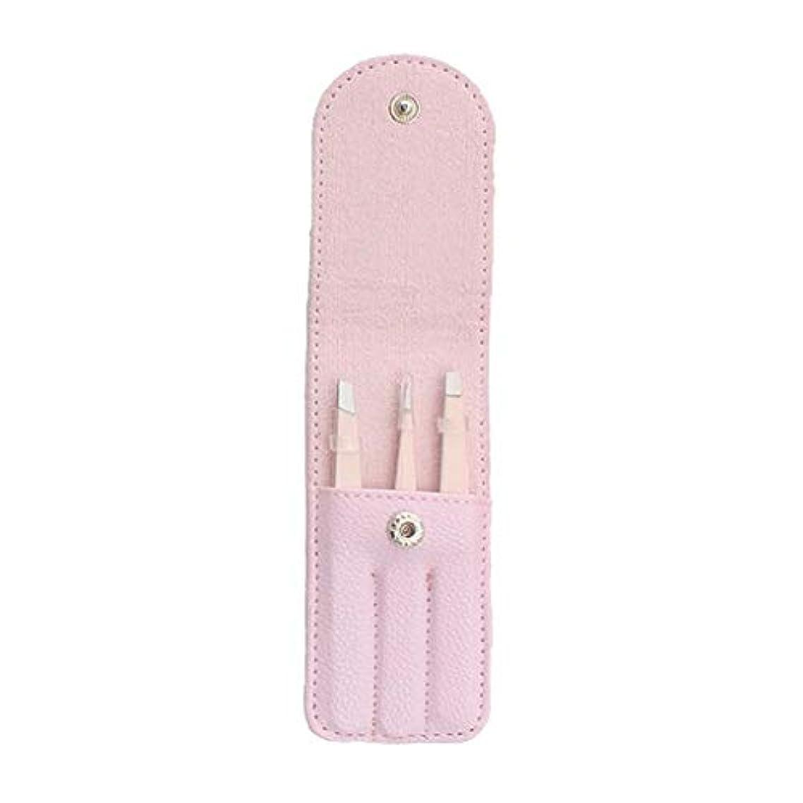 アフリカ瞑想する作りgazechimp 全4色 3個 眉毛ピンセット 毛抜き 眉毛クリップ ステンレス鋼 収納バッグ付 メイク道具 - ピンク