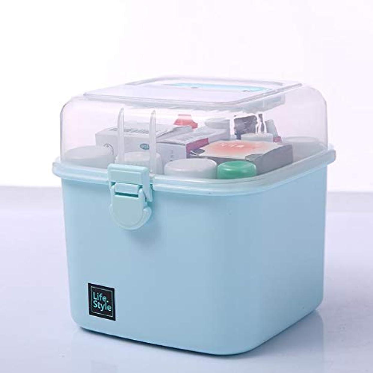 あからさま仲良し現れるプラスチック家庭用薬箱家族小さな薬箱収納ボックスポータブル学生救急キット薬箱医療箱小 薬箱 (Color : Blue, Size : 14cm×14cm×16cm)