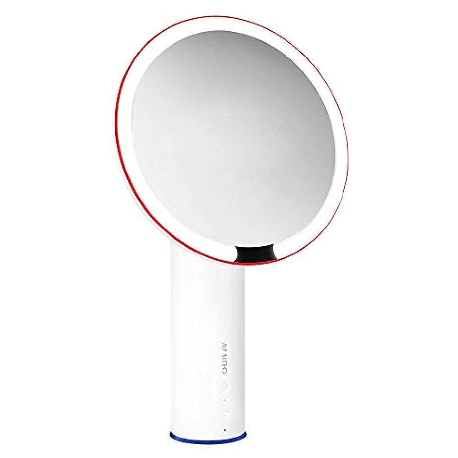 間近くプレミアAMIRO LED化粧鏡 人感センサー付き 化粧ミラー LEDライト付き 卓上鏡 女優ミラー 3段階明るさ調節可能