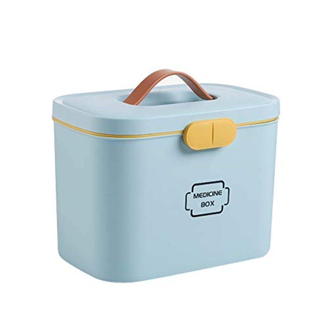 さわやか誠実責めるHTDZDX 応急処置キット収納ボックス医療容器、緊急キャビネット化粧箱、家庭用ポータブル医療収納オーガナイザー (Color : Blue)