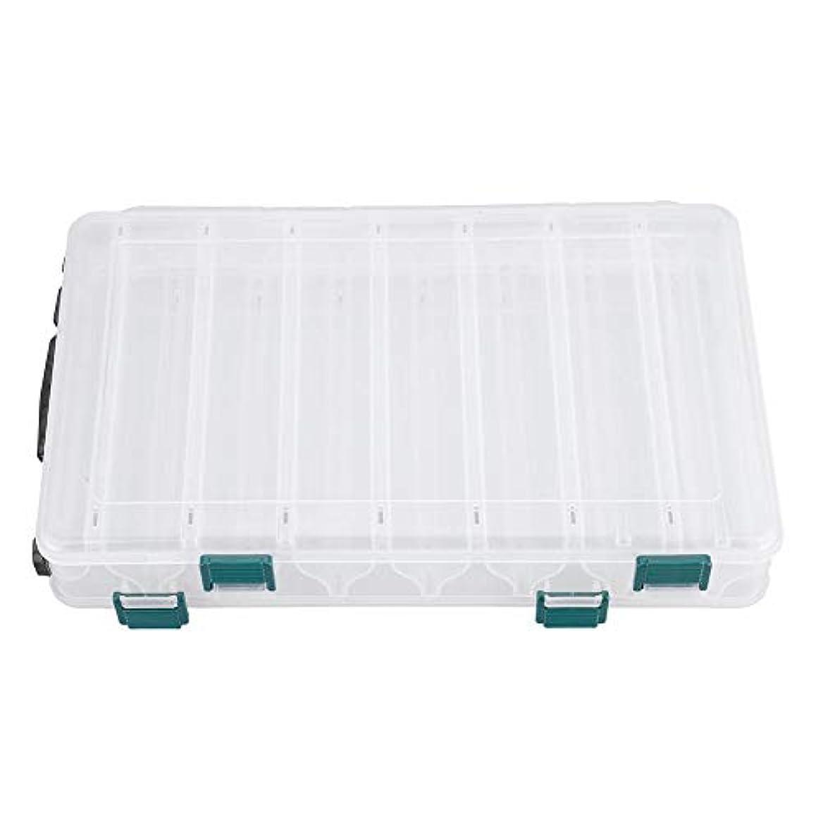 冗長シェード正当化するルアーボックス、ダブルサイドプラスチックフィッシングベイトフィッシングフックボックスルアーホルダーケース大容量アクセサリー(14スロット)