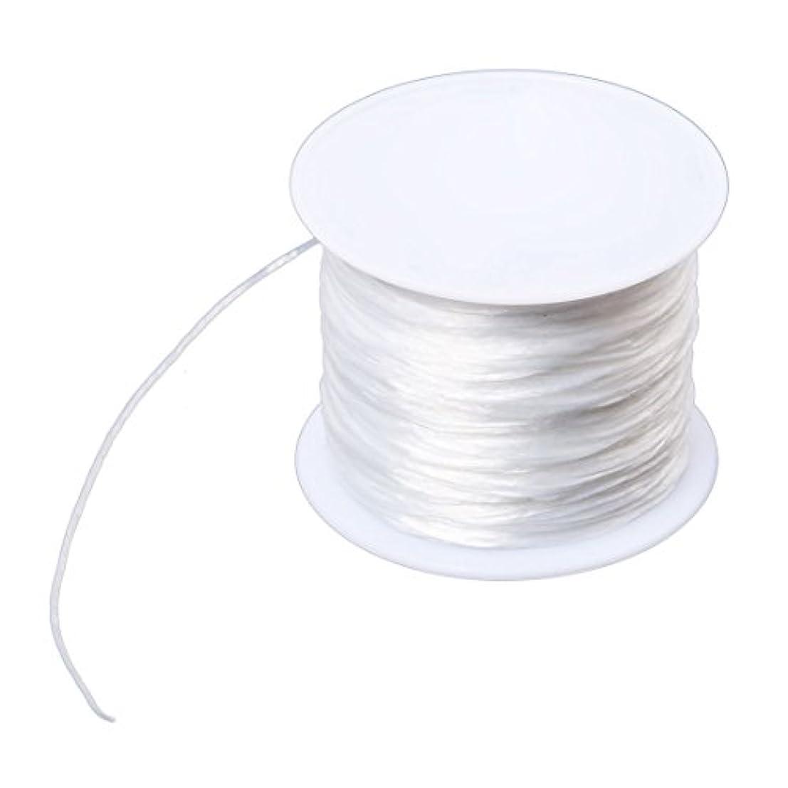 仲人非難暴力的なACAMPTAR 白い弾性ストレッチクリスタルライン ジュエリー ビーディング糸スプール 100M