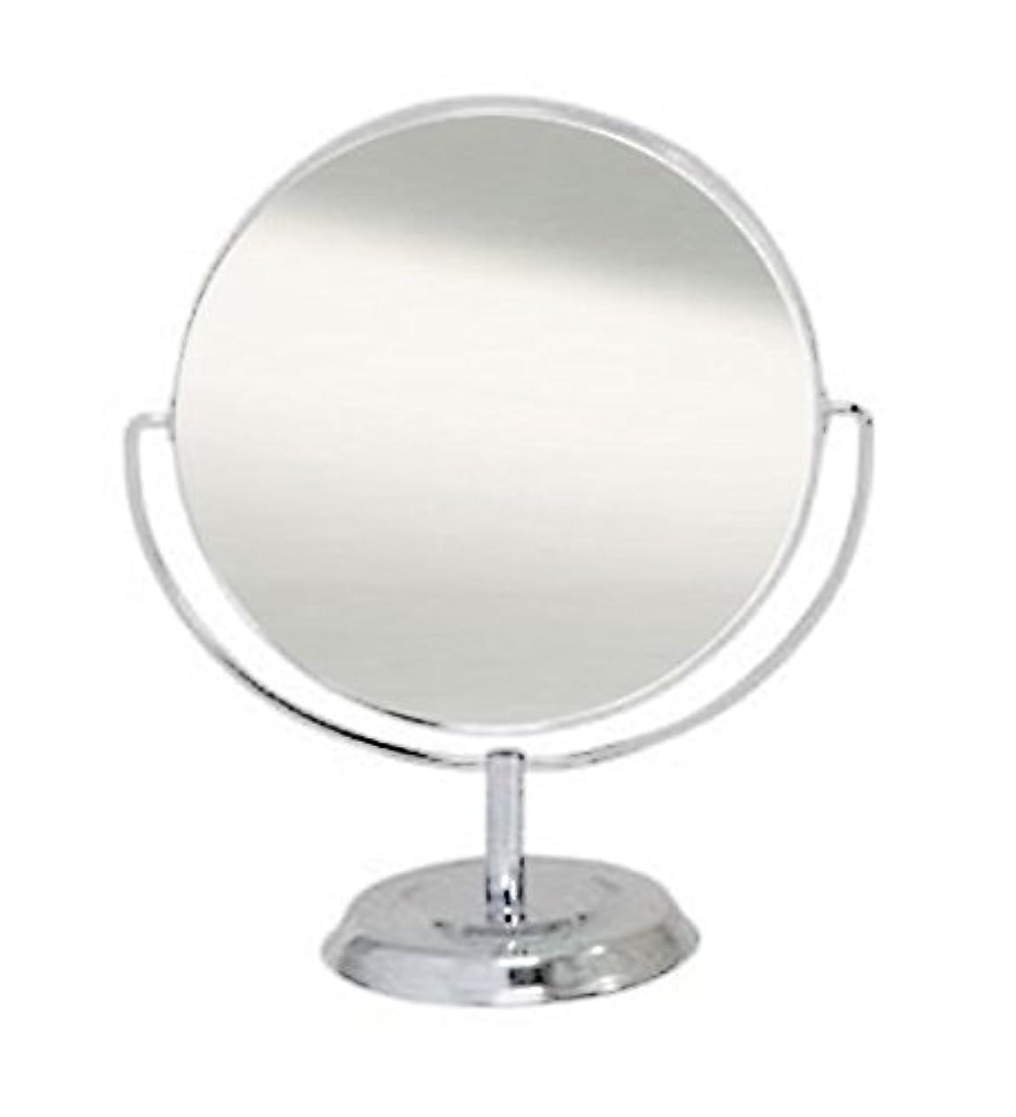 広範囲に在庫暗くする鏡 卓上ミラー 丸型 両面 拡大鏡約2倍付 No.5860 シルバー