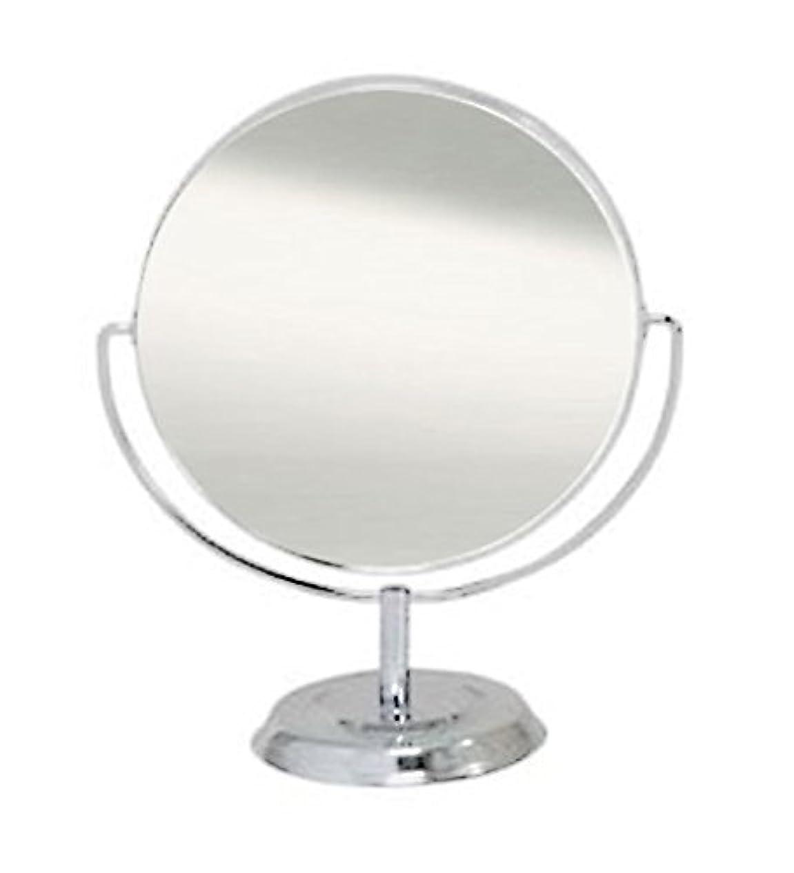 フォアマンパイプライン迷信鏡 卓上ミラー 丸型 両面 拡大鏡約2倍付 No.5860 シルバー