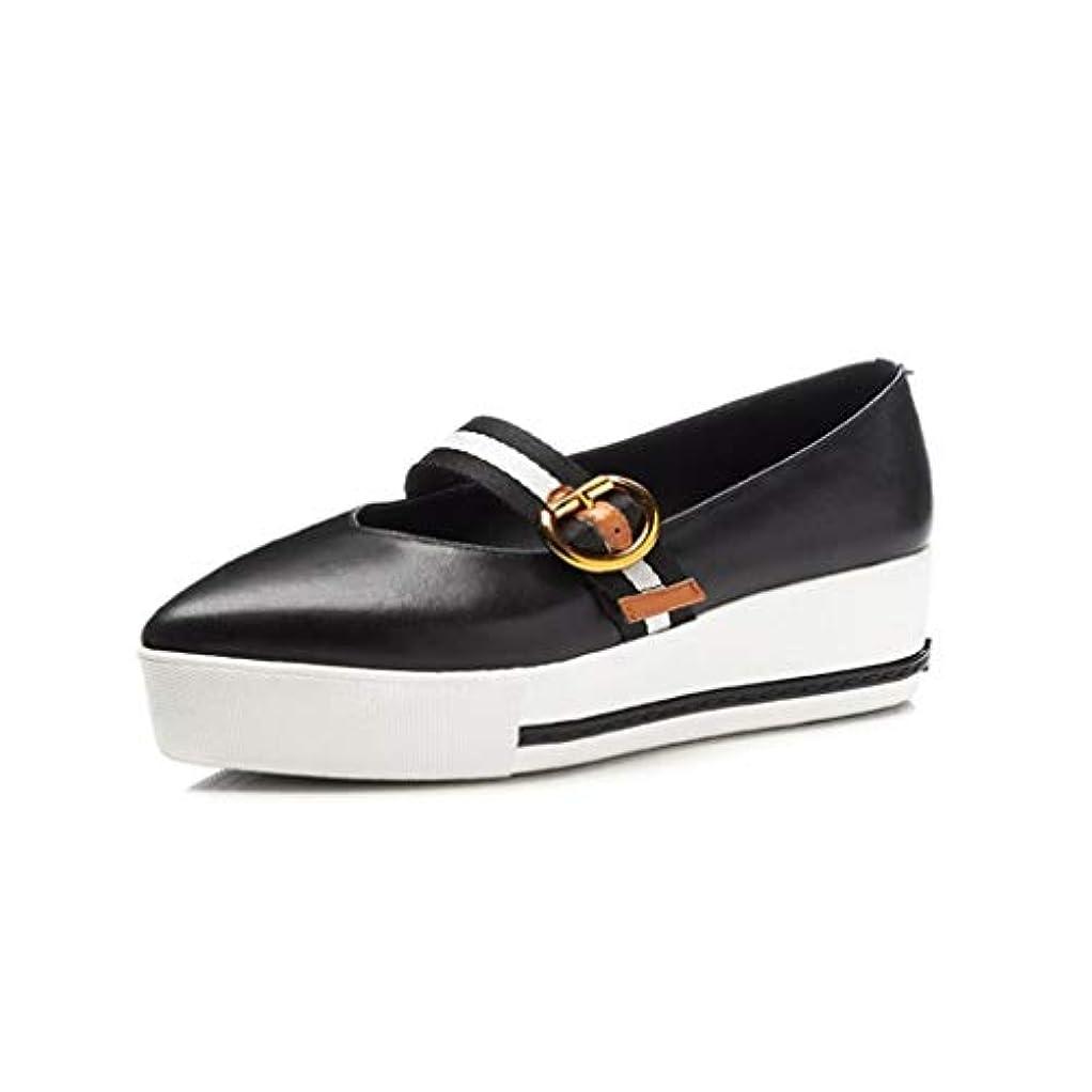 敬礼黙代表して女性の革の新しい春の靴尖ったローファー & スリップアドオンファッションバックルプラットフォームシューズデッキシューズウェッジシューズブラック,Black,36