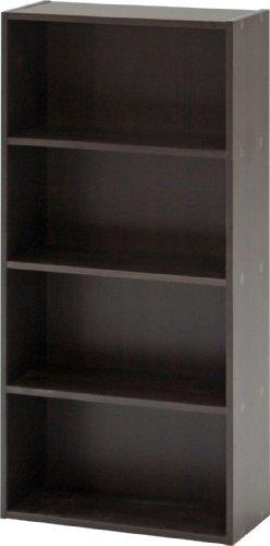 不二貿易 リビング収納 BDラック 本棚 4段 幅41.8cm ダークブラウン 81398