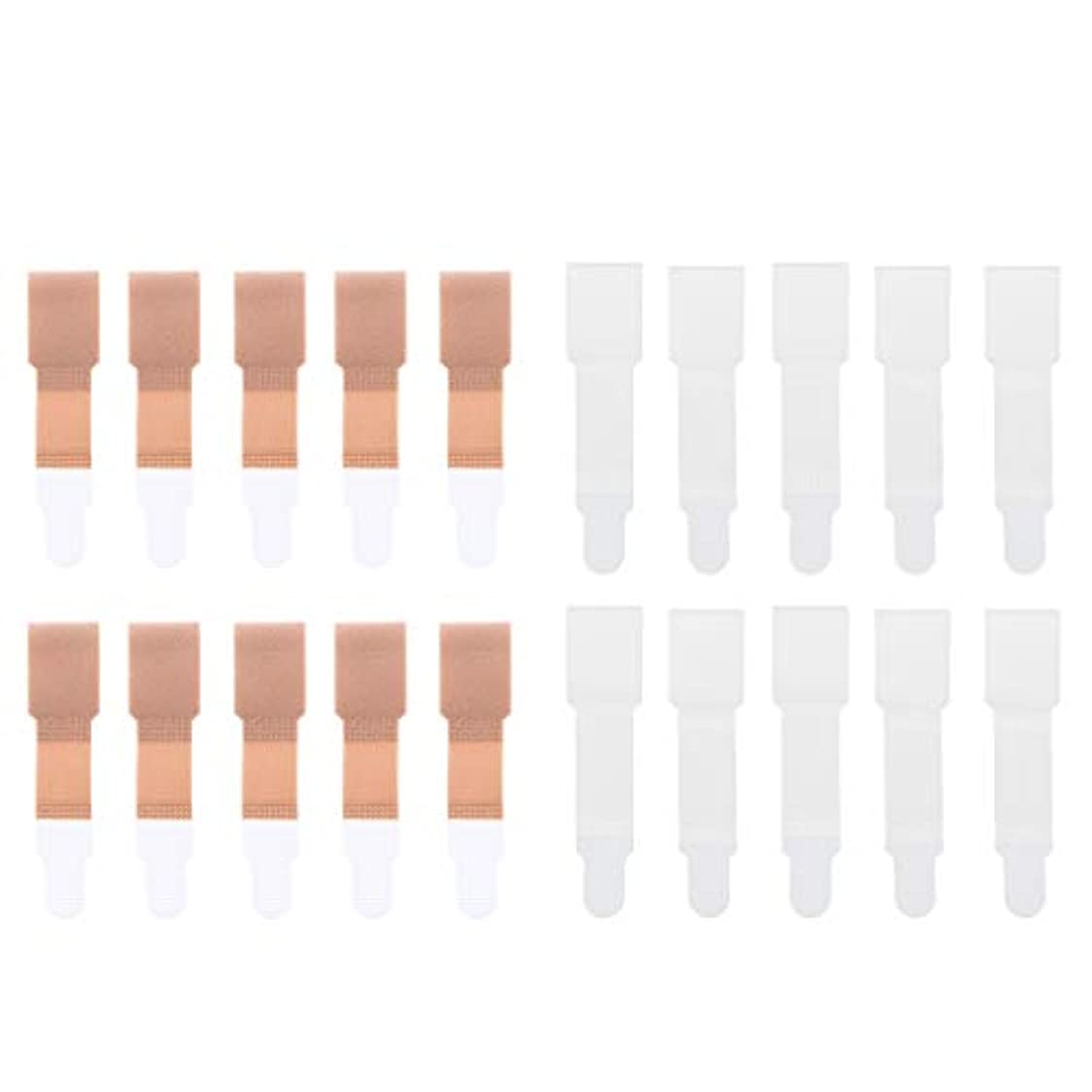兄弟愛降臨特異性足のつまみ トゥーブレースラップ トゥセパレータ 包帯 ストレートナー 20個入り 全2色選べ - 肌+白