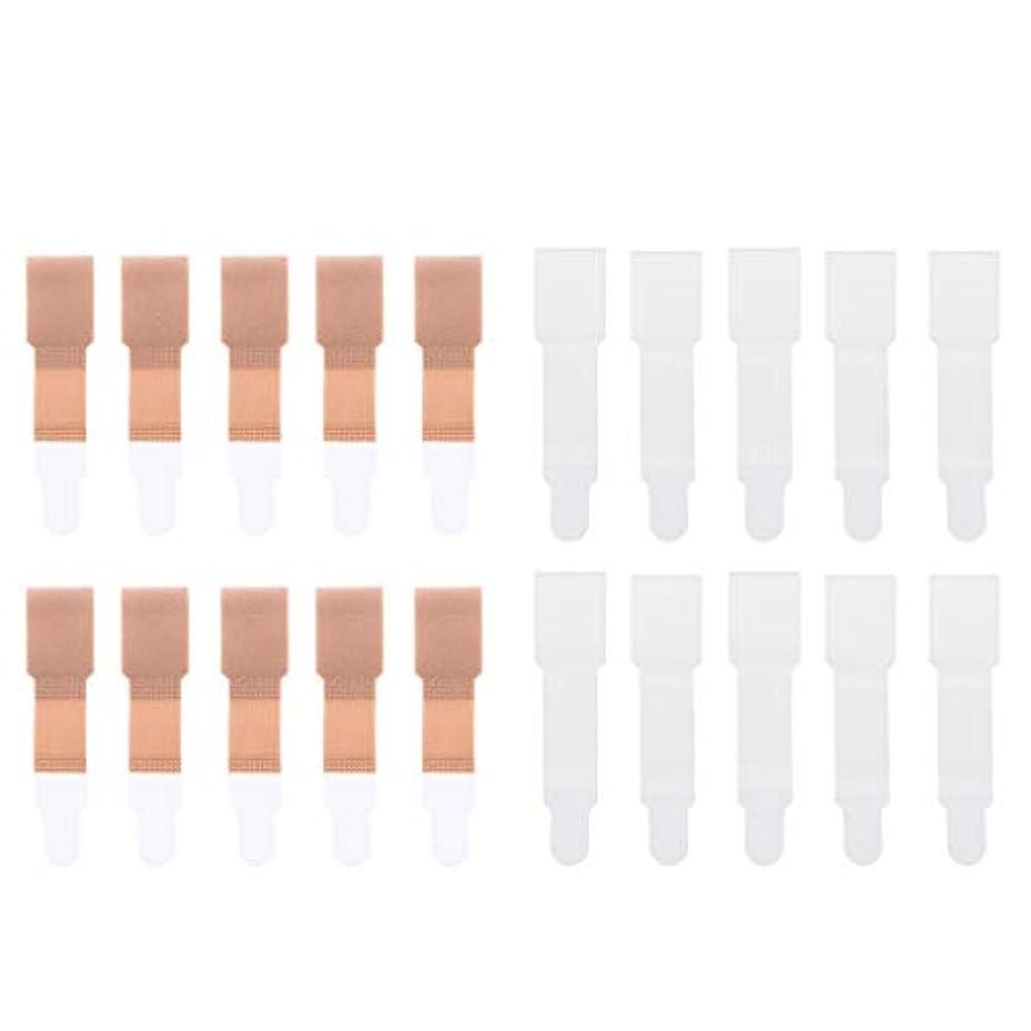 道植木チラチラする足のつまみ トゥーブレースラップ トゥセパレータ 包帯 ストレートナー 20個入り 全2色選べ - 肌+白