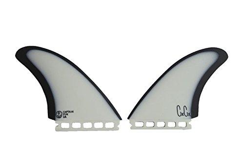 CAPTAIN FIN キャプテンフィン CHRISTENSON TWIN ESPECIAL クリス・クリステンソン ツイン エスペシャル TWIN ツイン 2FIN 2枚セット ショートボード用 (ST(FUTUREプラグ対応), WHT_BLK)
