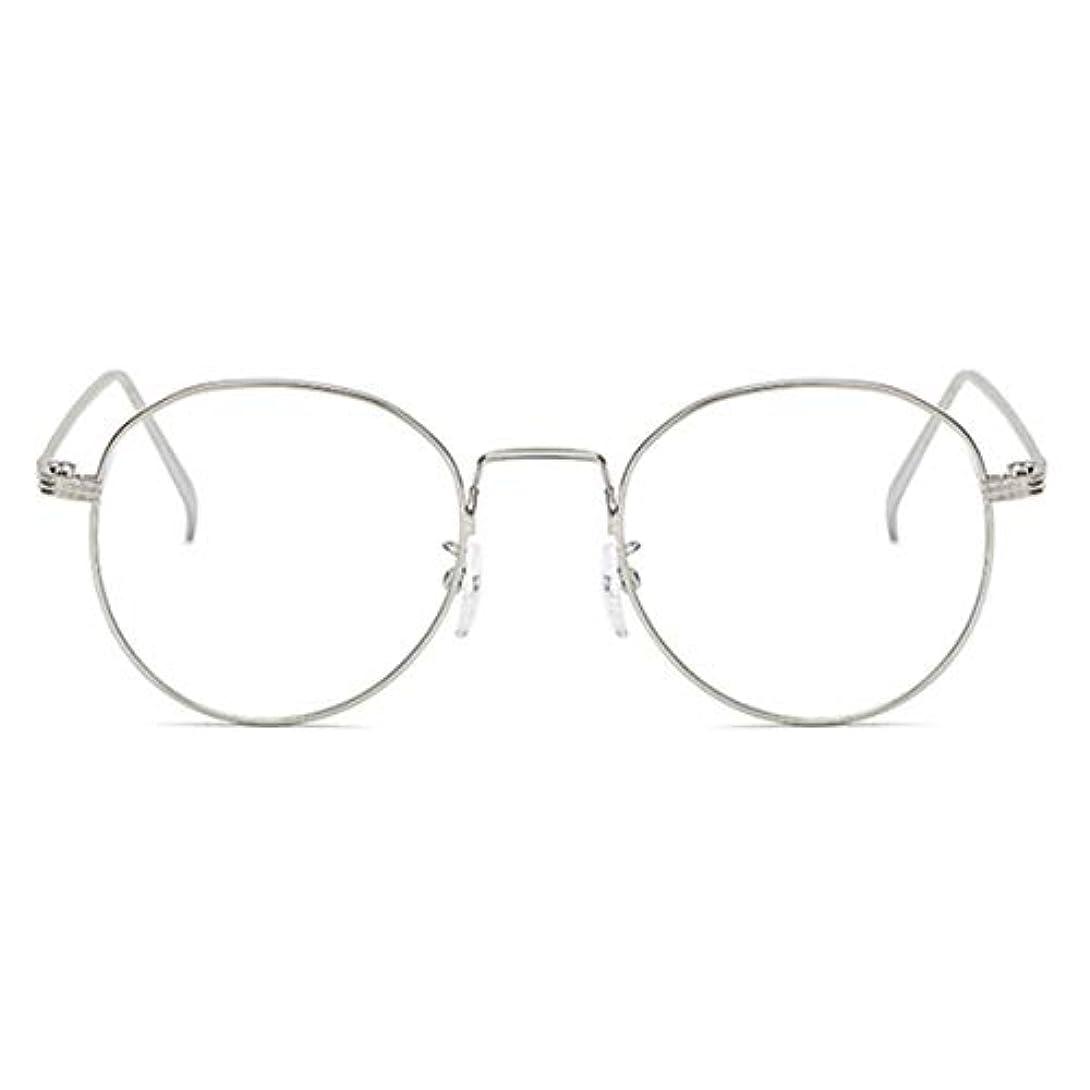算術困惑した鉄道丸型アンチブルーライト男性女性メガネ軽量金属フレームプレーンミラーレンズアイウェアメガネ-シルバー