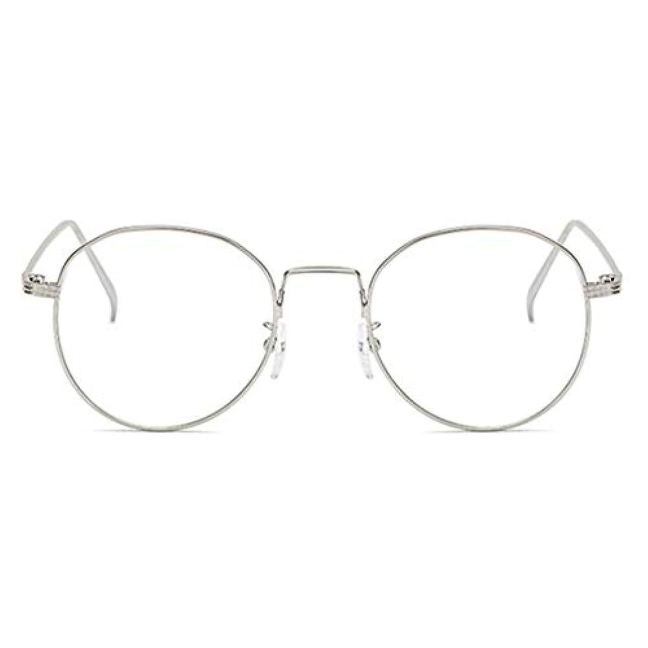 うつはっきりしない蛾丸型アンチブルーライト男性女性メガネ軽量金属フレームプレーンミラーレンズアイウェアメガネ-シルバー