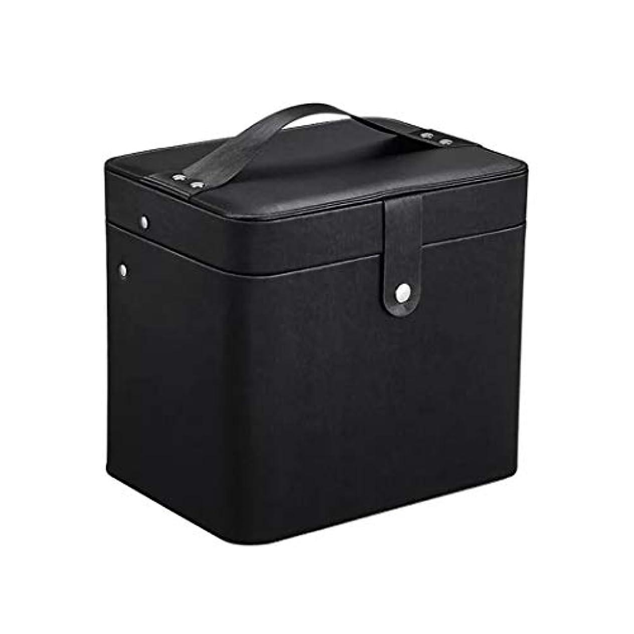 豆担保ピラミッドSZTulip コスメボックス メイクボックス 大容量収納ケース メイクブラシ化粧道具 小物入れ 鏡付き 化粧品収納ボックス (ブラック)