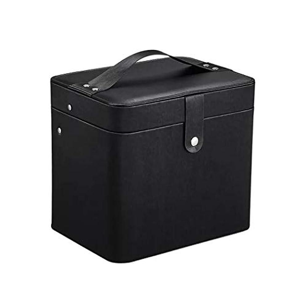 六月包帯反対するSZTulip コスメボックス メイクボックス 大容量収納ケース メイクブラシ化粧道具 小物入れ 鏡付き 化粧品収納ボックス (ブラック)