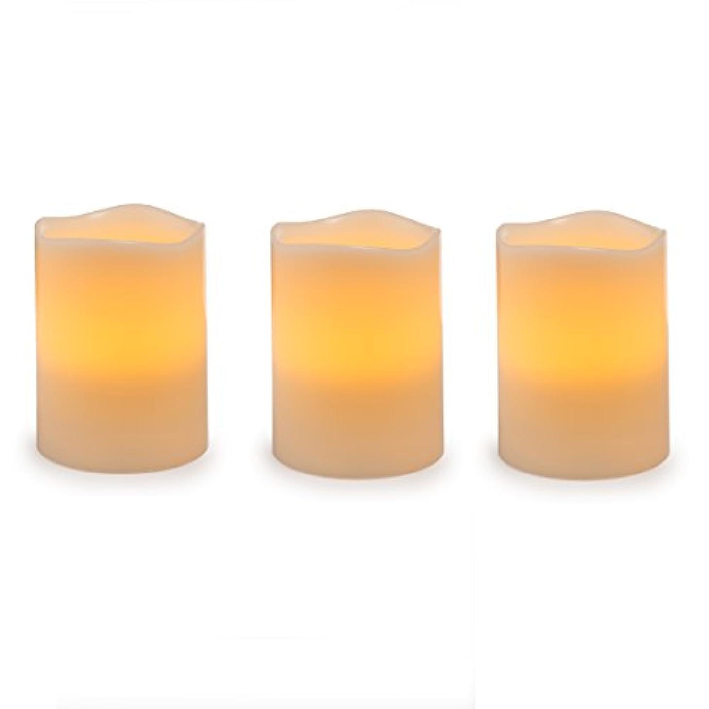 盗難モンキー道徳のDarice電池式LED Pillar Candleセット、3ピース