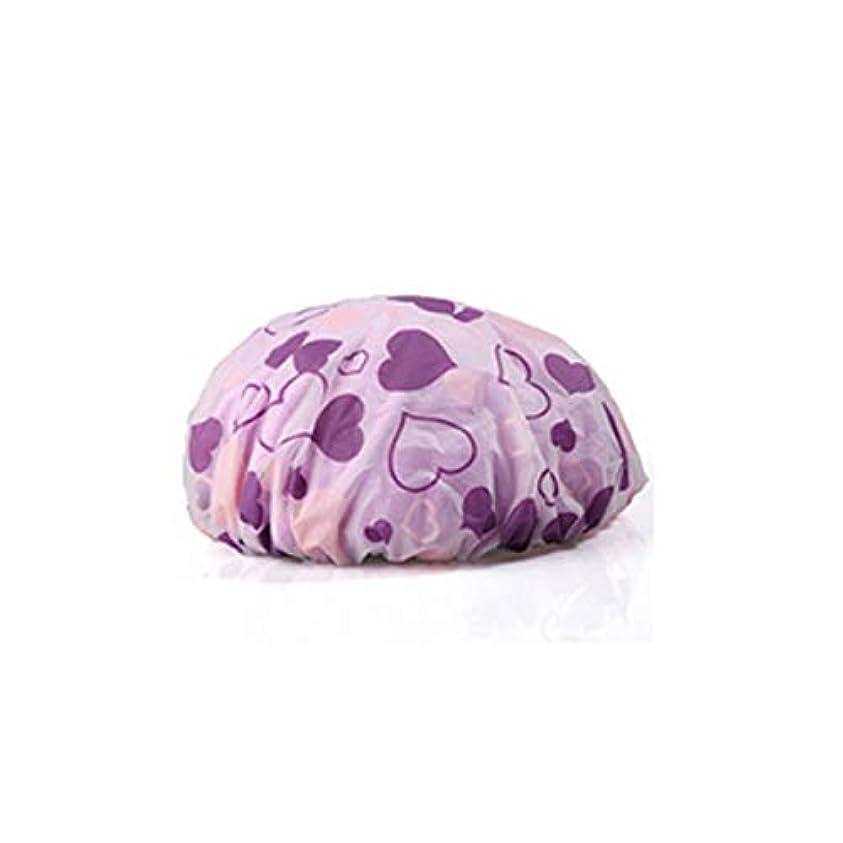 裏切り者クリーククリエイティブSMXGF シャワーキャップ、ダブルレイヤー大人女性フード、防水シャワーハット、キッチン耐油クッキングハット (Color : Purple)
