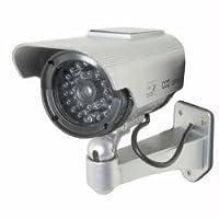Streetwiseセキュリティ製品dc1100ssp 5インチ赤外線ダミーカメラで円形アウトドアハウジングwith Solar Poweredライト–Siver–by Cutting Edge