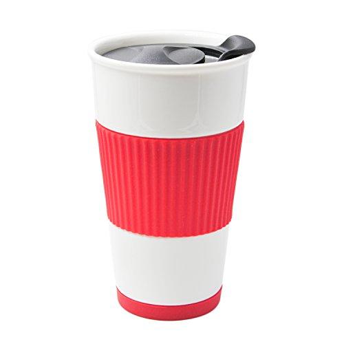UDMG 二重構造断熱コーヒーカップ セラミックタンブラー 300ml 蓋つき コースター付き (コーラル)