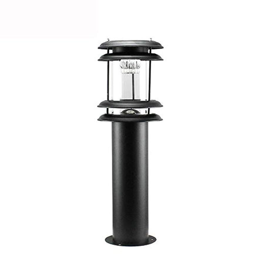 ヒント三ミンチPinjeer 現代のクリエイティブled屋外防水ソーラーコラムライト超明るい黒い金属鉄ガラスポストライトガーデンヴィラホームコートヤード装飾柱ランプ (Color : Warm light)