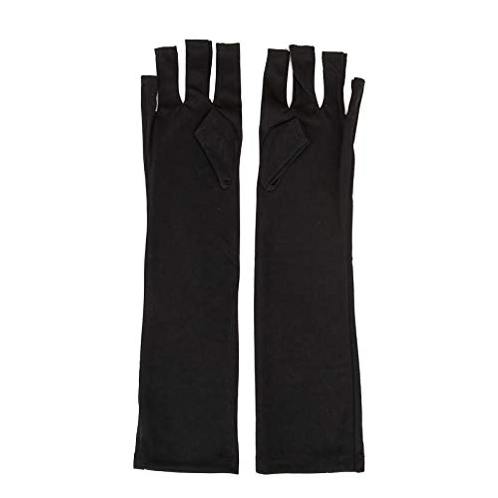中でヘビ調整1ペアネイルアートUV保護手袋UVランプ放射線防護手袋ネイルアートドライヤーツールマニキュアツールネイルアートツールオープントゥブラック