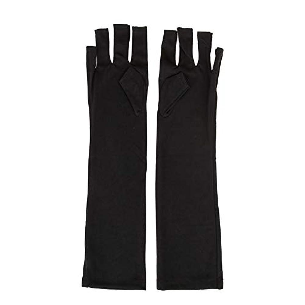 辞書黙認するのホスト1ペアネイルアートUV保護手袋UVランプ放射線防護手袋ネイルアートドライヤーツールマニキュアツールネイルアートツールオープントゥブラック