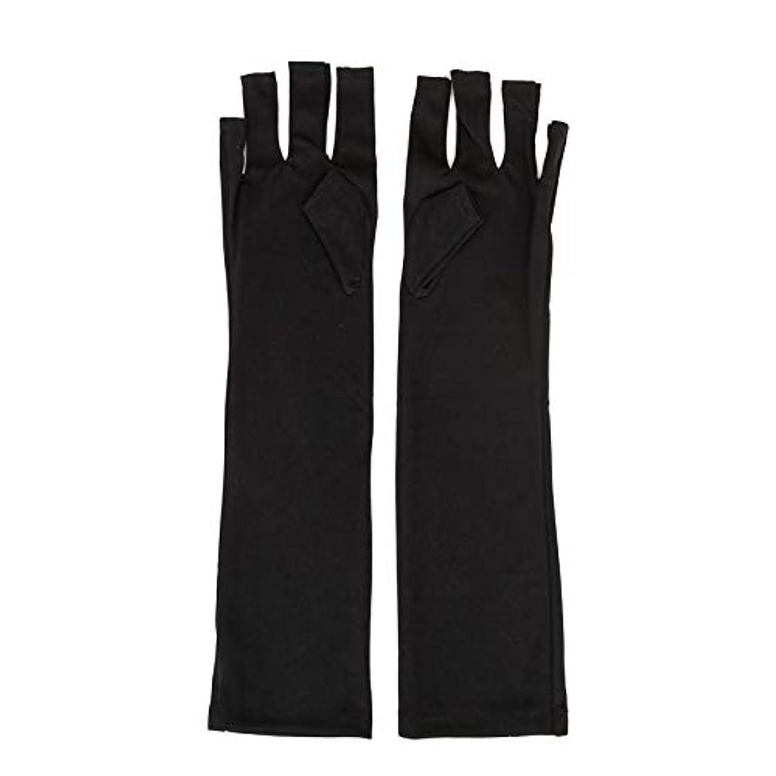 立場下手高める1ペアネイルアートUV保護手袋UVランプ放射線防護手袋ネイルアートドライヤーツールマニキュアツールネイルアートツールオープントゥブラック